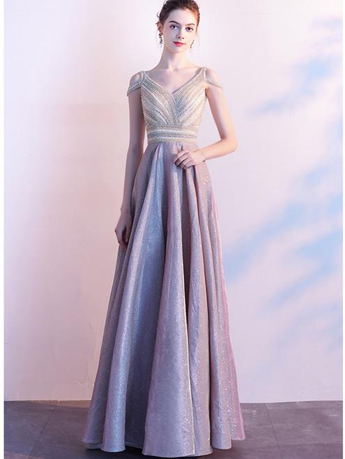 Pink V-neck Backless Beading Sequins Prom Dress