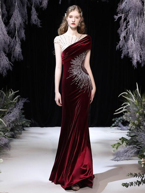 Burugndy Mermaid Velvet Cap Sleeve Prom Dress