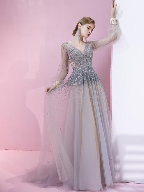 Gray Tulle V-neck Long Sleeve Beading Prom Dress