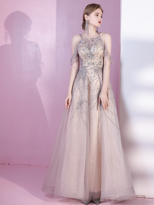 Champagne Tulle Beading Crystal Backless Prom Dress