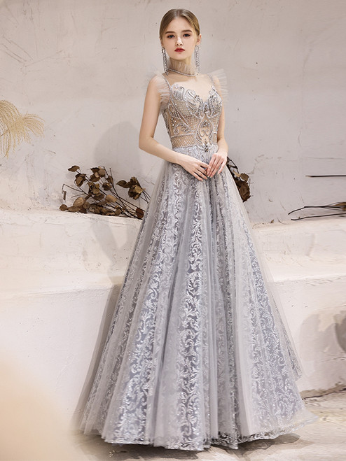 Gray Tulle Sequins Beading Illusion Neck Prom Dress
