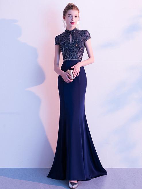 Navy Blue Mermaid Lockhole Beading Prom Dress