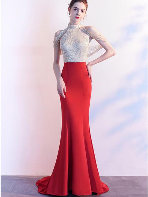 Red Mermaid Satin Halter Backless Beading Sequins Prom Dress