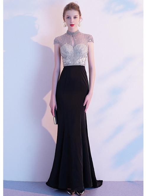 Black Mermaid Lockhole Beading Prom Dress