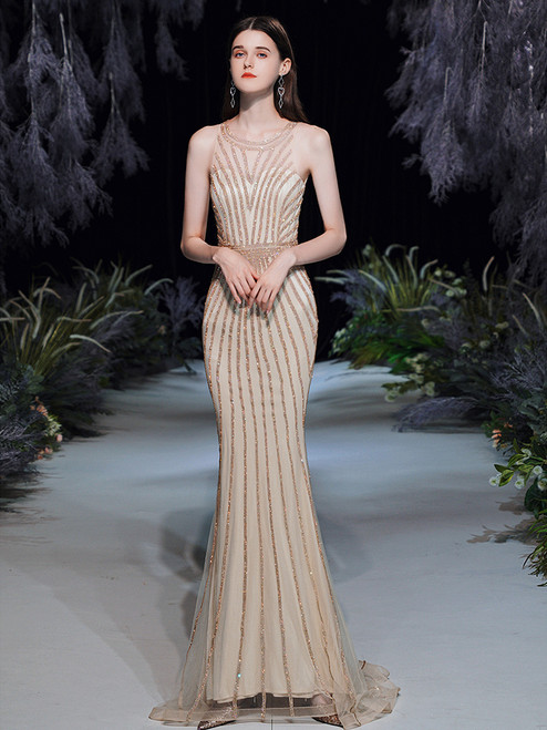 Sexy Gold Mermaid Beading Sleveless Prom Dress