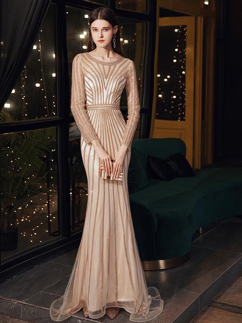 Gold Mermaid Beading Long Sleeve Prom Dress