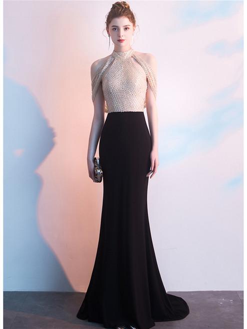 Black Mermaid Satin Halter Backless Beading Sequins Prom Dress