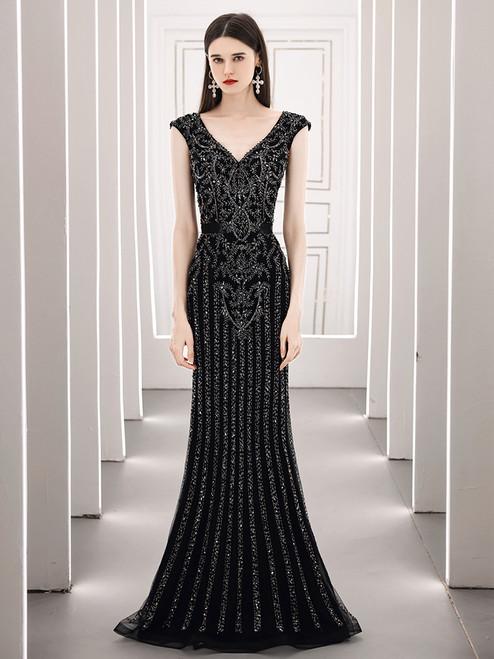 Black Mermaid V-neck Beading Crystal Prom Dress