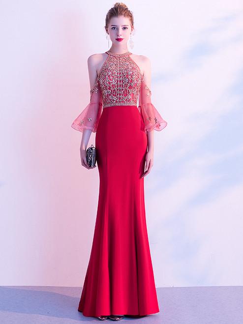 Red Mermaid Short Sleeve Beading Illusion Back Prom Dress