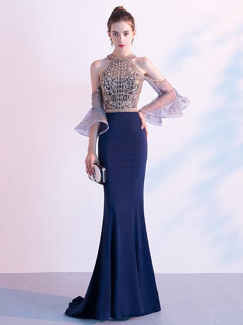 Navy Blue Mermaid Short Sleeve Beading Illusion Back Prom Dress