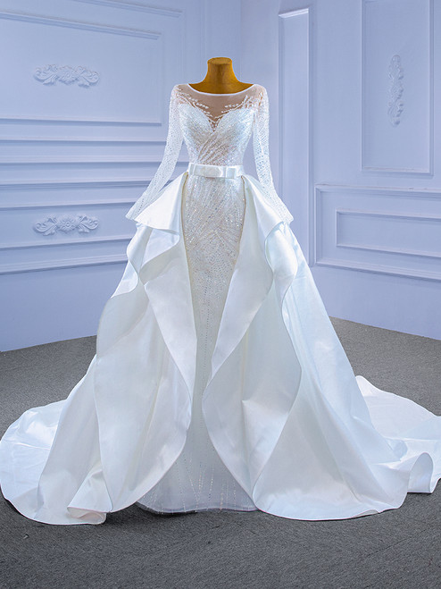 White Mermaid Tulle Sequins Long Sleeve Wedding Dress With Detachable Train