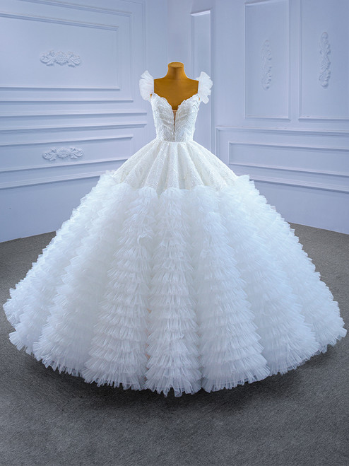 White Ball Gown Puff Lace Sequins Tiers Wedding Dress
