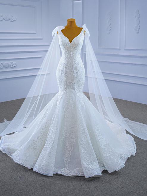 White Mermaid V-neck Appliques Wedding Dress