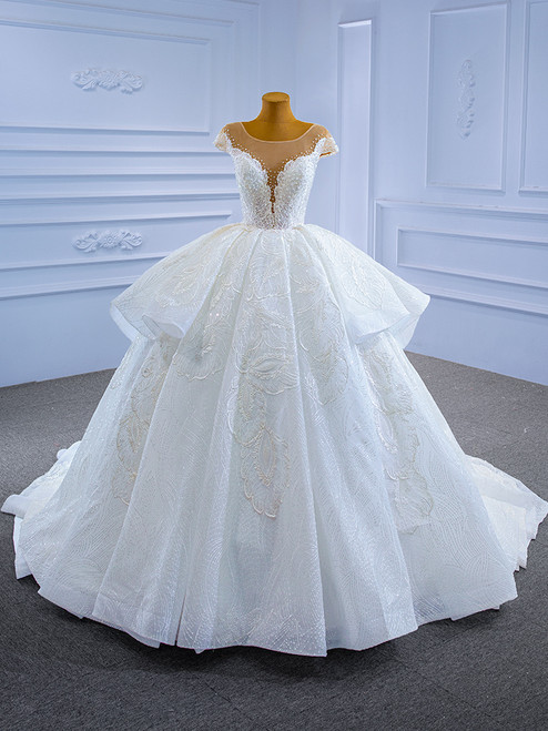 White Lace Sequins Cap Sleeve Pearls Wedding Dress