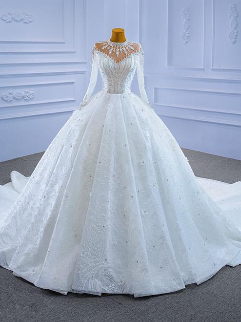 Sequins Long Sleeve Crystal Beading Appliques Wedding Dress