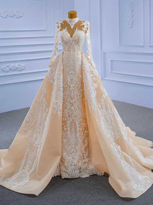 Mermaid Lace High Neck Long Sleeve Wedding Dress With Detachable Train