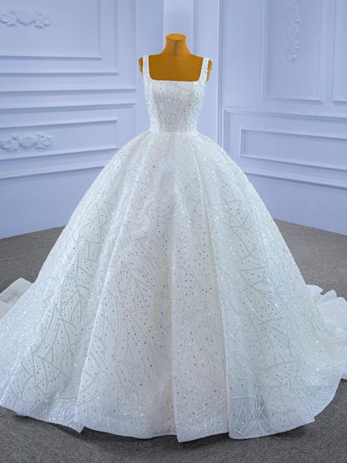 Luxury White Tulle Sequins Beading Straps Wedding Dress