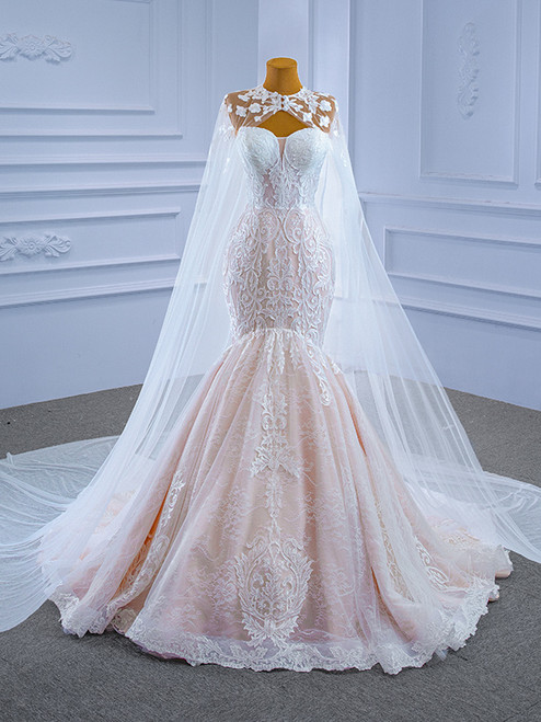 Mermaid Tulle Lace Appliques Sweetheart Wedding Dress With Shawl