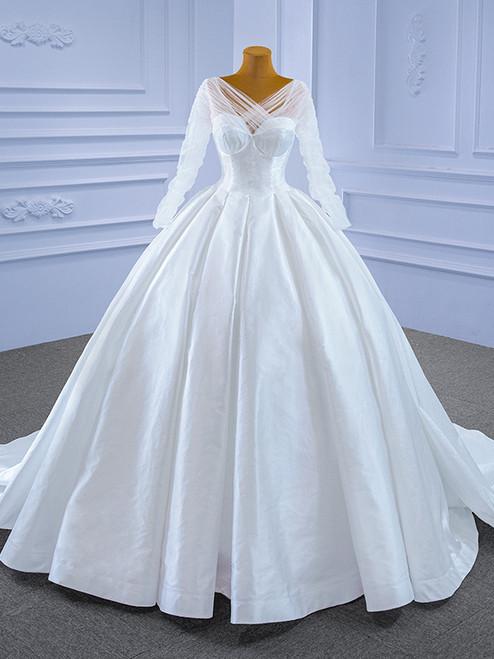 White Satin Long Sleeve Backless Wedding Dress