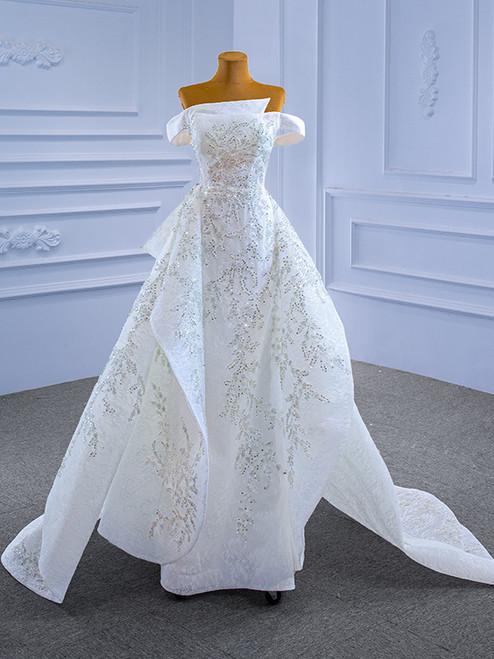 White Sheath Lace Beading Sequins Wedding Dress