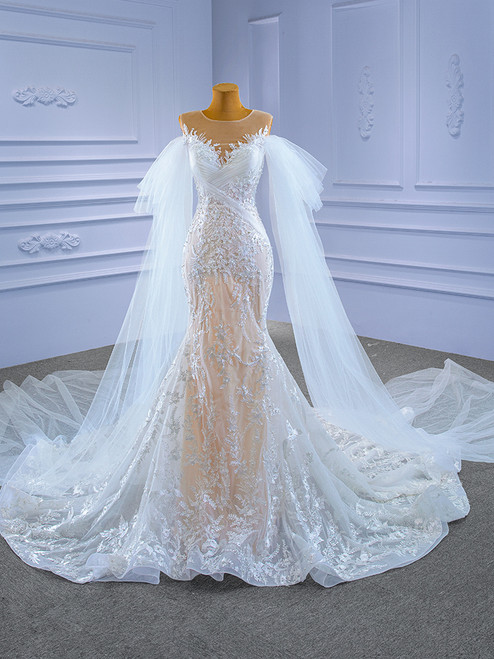 Sexy White Tulle Mermaid Appliques Pearls Wedding Dress