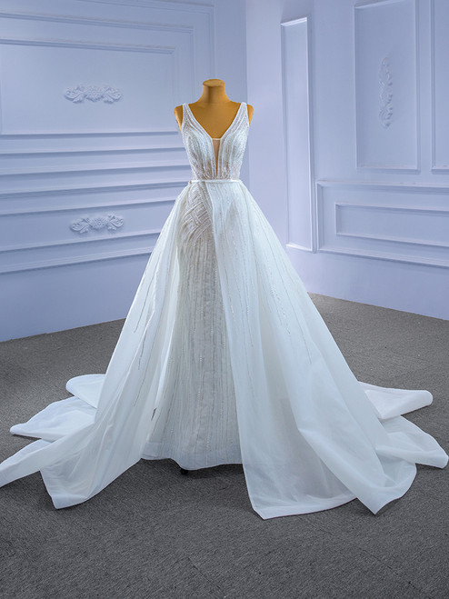 White Mermaid Tulle Beading Pearls V-neck Wedding Dress With Detachable Train