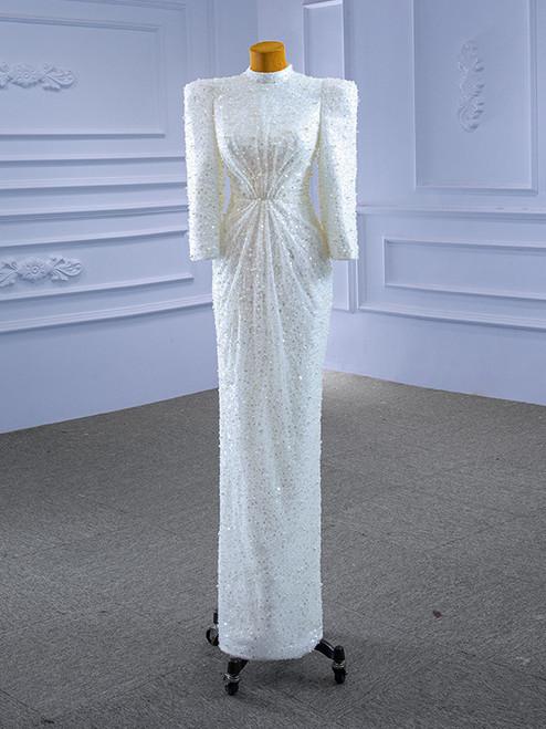 White Mermaid Sequins Pearls Long Sleeve Wedding Dress