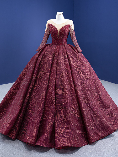 Burgundy Tulle Lace Long Sleeve Prom Dress