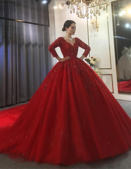 Red Tulle V-neck Long Sleeve Appliques Beading Wedding Dress