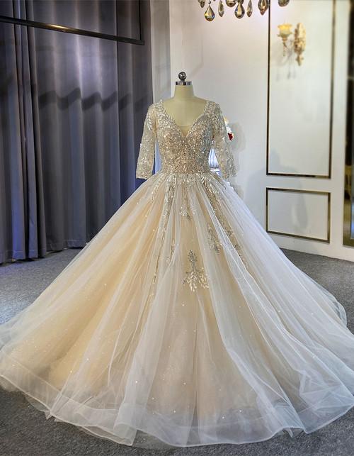 Tulle Sequins Beading Short Sleeve Wedding Dress