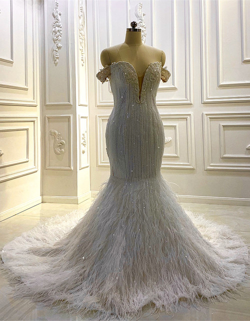 White Mermaid Sequins Pearls Feather Wedding Dress