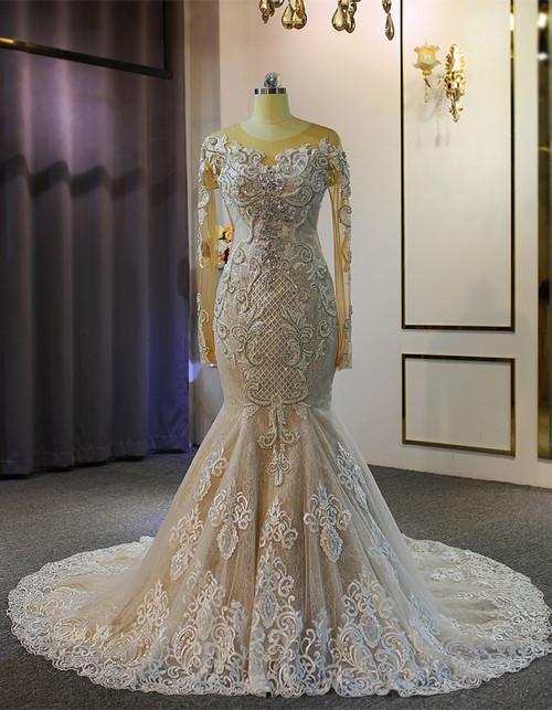 Mermaid Lace Long Sleeve Beading Wedding Dress