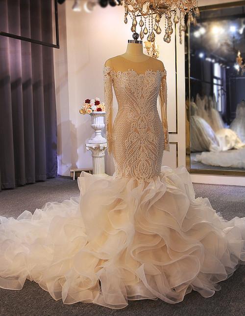 Mermaid Long Sleeve Appliques Beading Wedding Dress