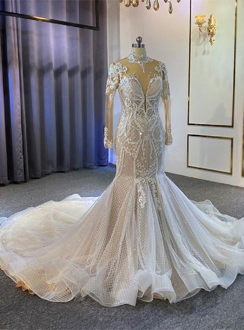 Mermaid Tulle High Neck Illusion Back Beading Wedding Dress