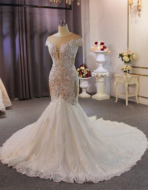 Mermaid Tulle Appliques Beading Cap Sleeve Wedding Dress