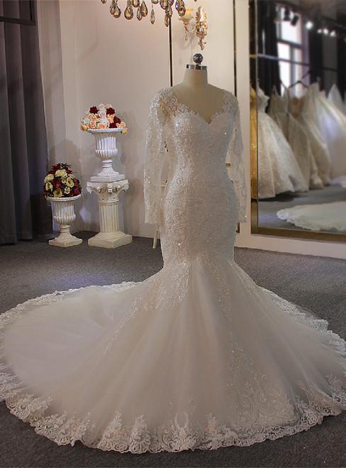 White Long Sleeve V-neck Pearls Wedding Dress