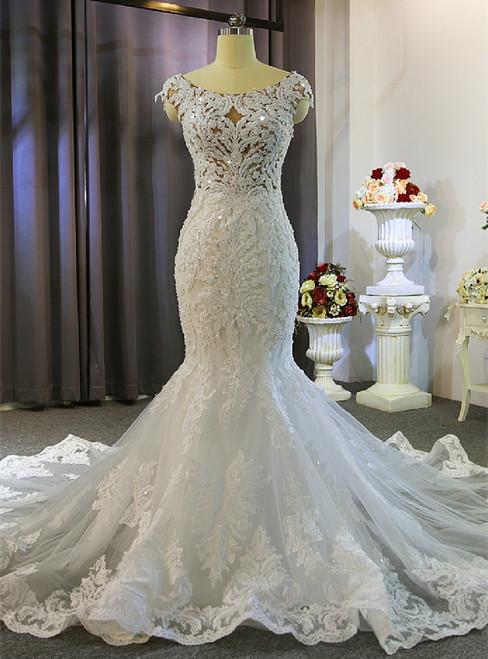 White Mermaid Appliques Beading Wedding Dress