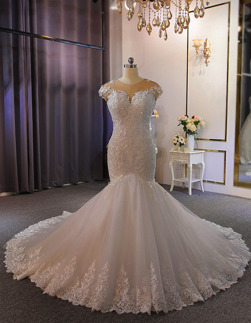 White Mermaid Appliques Cap Sleeve Wedding Dress