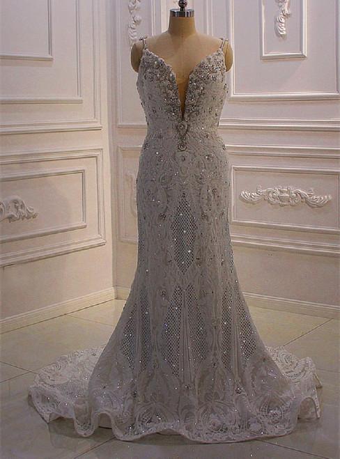 White Mermaid Spaghetti Straps Sequins Beading Wedding Dress