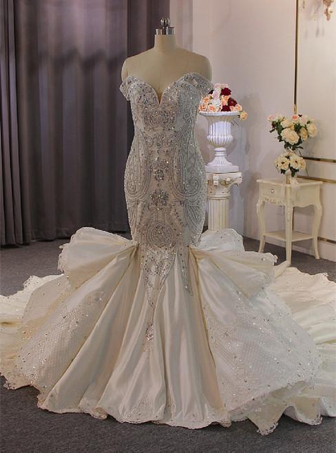Mermaid Satin Appliques Beading Wedding Dress With Detachable Train