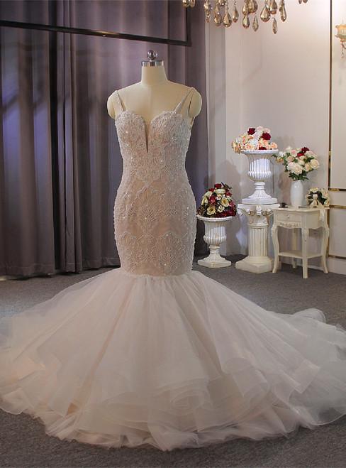 Mermaid Tulle Lace Beading Spaghetti Straps Wedding Dress