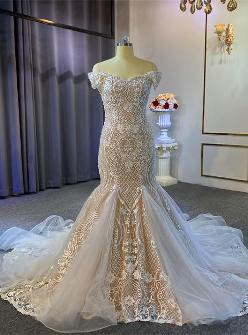 Champagne Mermaid Appliques Beading Wedding Dress