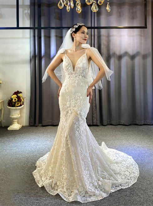 Mermaid Spaghetti Straps Appliques Beading Wedding Dress