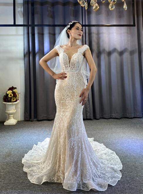 Champagne Mermaid Lace Beading Wedding Dress