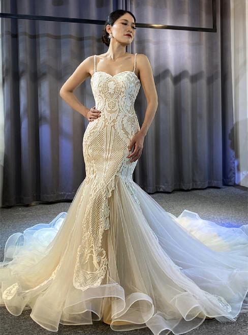 Mermaid Sequins Spaghetti Straps Wedding Dress