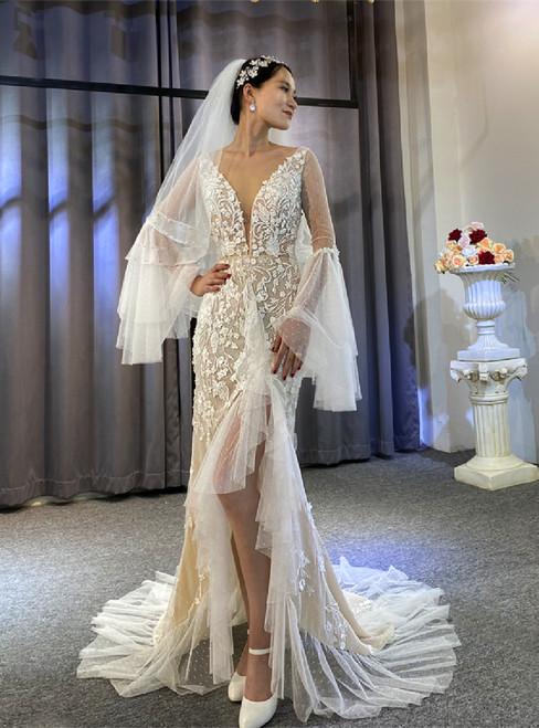 Mermaid Long Sleeve Appliques Beading Wedding Dress With Split