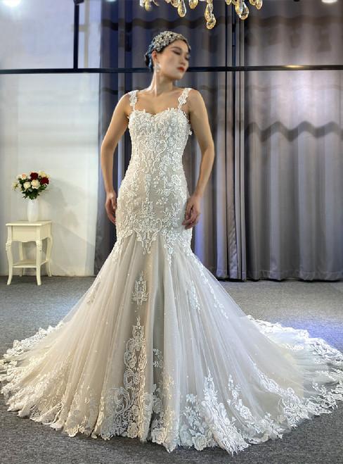 Tulle Appliques Beading Spaghetti Straps Wedding Dress
