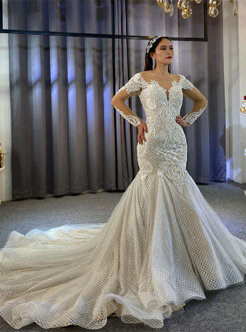 Long Sleeve Sequins Lace Beading Backless Wedding Dress