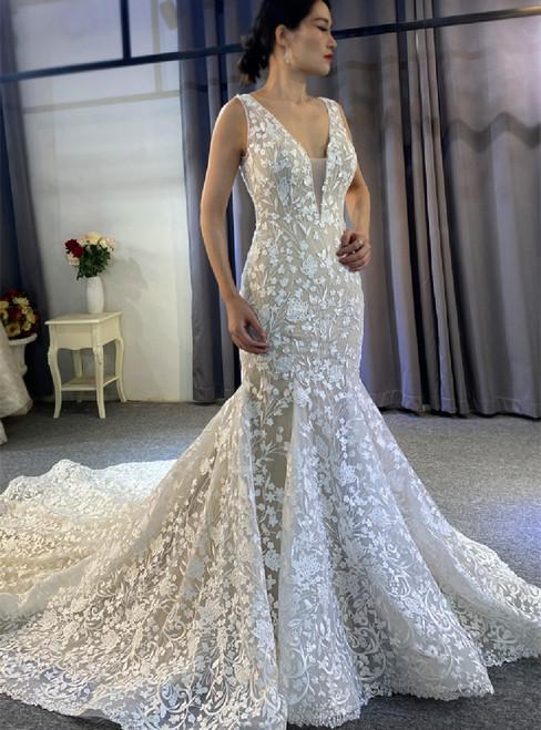 Sexy Mermaid Lace Appliques V-neck Wedding Dress