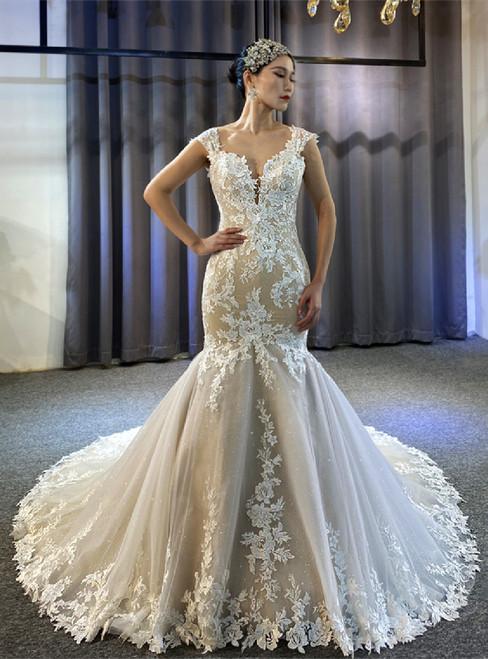 Mermaid Tulle Lace Appliques Straps Wedding Dress
